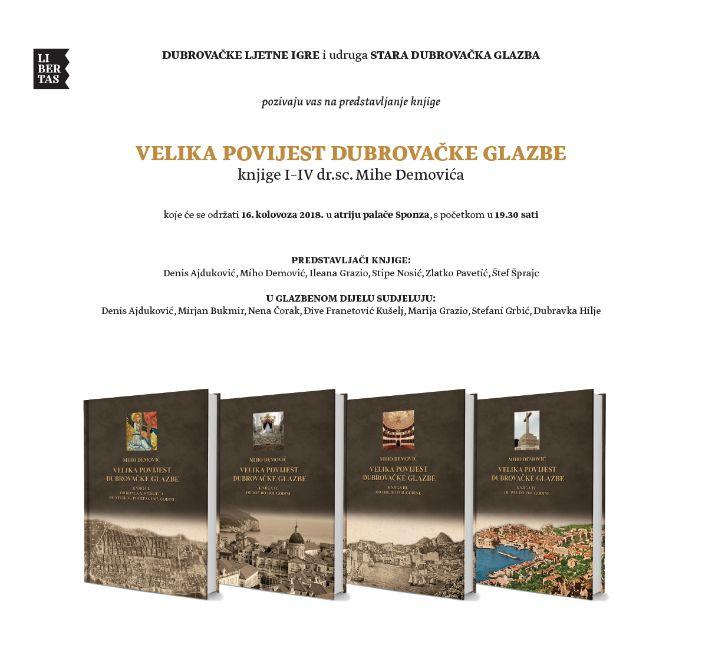 """Predstavljanje knjige """"Velika povijest dubrovačke glazbe"""" Miha Demovića"""