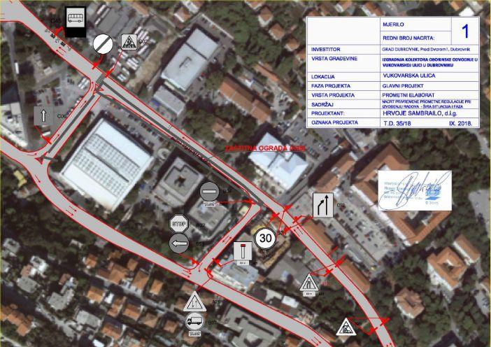 prometa za vrijeme izvođenja prve podfaze radova u Vukovarskoj ulici