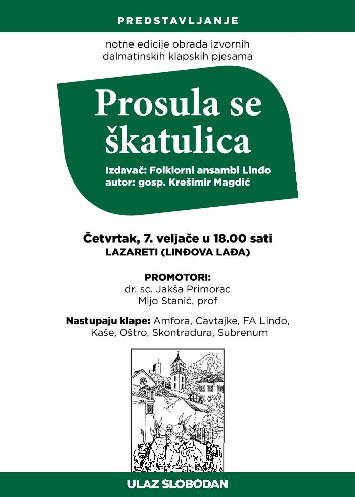 Folklorni ansambl Linđo organizira promociju notne edicije obrada izvornih dalmatinskih klapskih pjesama