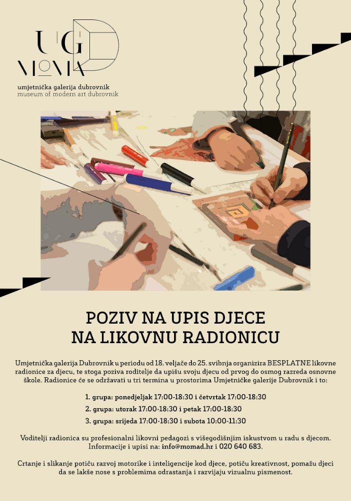 Umjetnička galerija Dubrovnik započela s prijavama za besplatne likovne radionice za osnovnoškolce