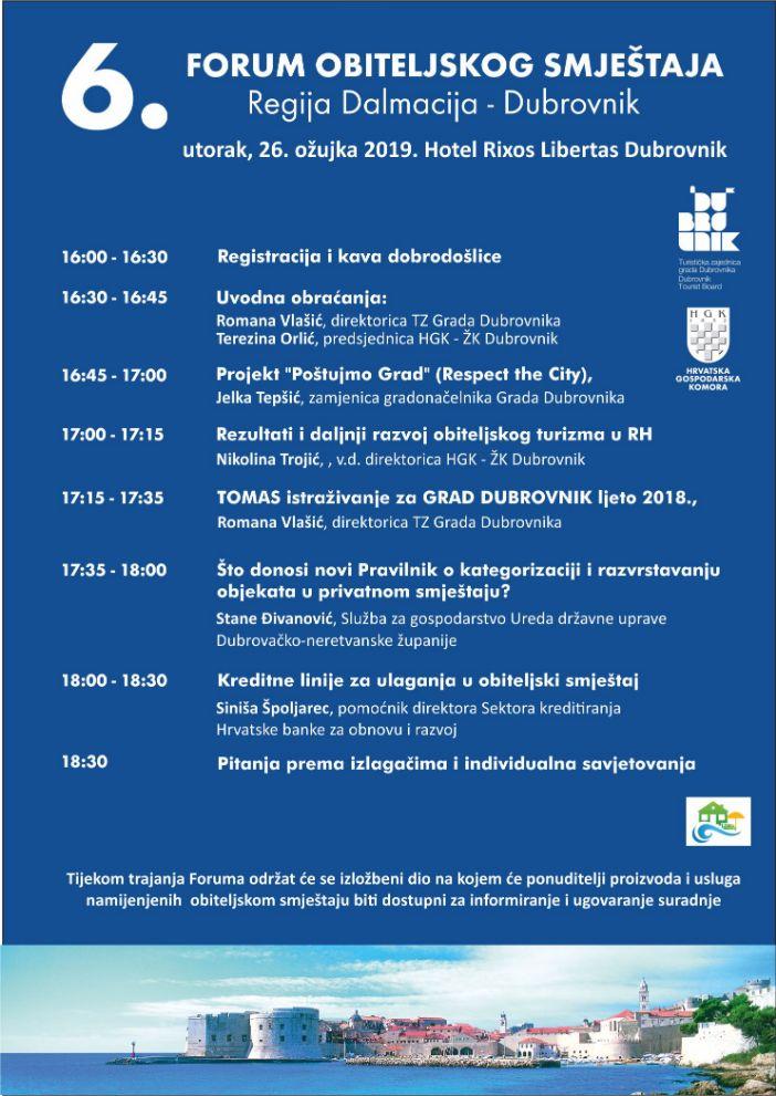 redu Forum obiteljskog smještaja u Dubrovniku